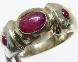 Ruby In Silver Ring Size 8.5 MJA 818
