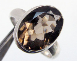 Smokey Quartz set in silver ring size 10 MJA 716