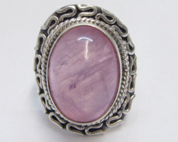 large rose Quartz set in Silver Ring size 8.5 MJA 714