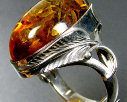 LARGE BALTIC AMBER RING SIZE 11.5 MYG1231