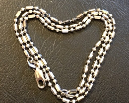 5 grams 18K ITALIAN WHITE BALL  GOLD CHAIN , 44 CM LONG 5 GRAMS L399