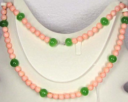 Necklace LK 0632 Green  Beads with Pinkish/whitish coral