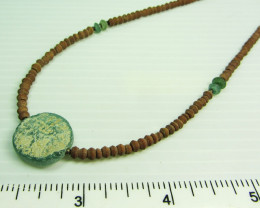 Ancient Roman Glass necklace with Serpentine  MJA 215
