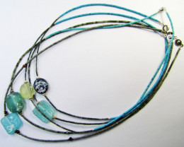 FIVE Ancient Roman Glass necklace with Serpentine  MJA771