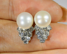 Ivory Natural fresh water  Pearl Earrings PPP 1222
