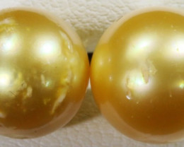 10 MM Golden Natural Pair Pearls SB 431