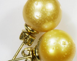 11 MM Golden Natural Pair Pearls SB 436