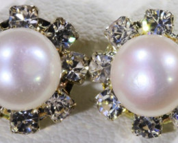 8 mm Natural Pearl Earrings n diamenties  ppp 1245