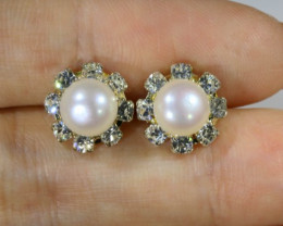 8 mm Natural Pearl Earrings ppp 1244