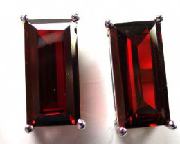 SPARKLING RUBY LIKE STERLING SILVER EARRINGS AAA609