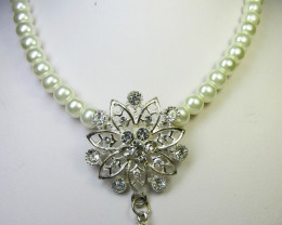 FOCAL HIGH LUSTER PEARL NECKLACE N EARRINGS QT 287