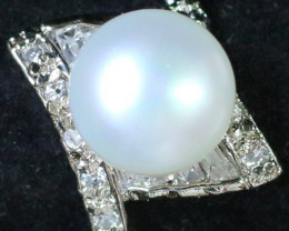 8 mmFresh Water Pearl Ring size  6.5  AM 1078