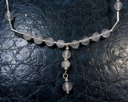 NATURAL QUARTZ ON SILVER NECKLACE GG 954