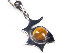 BRIGHT TIGER EYE GEMSTONE SILVER PENDANT GRR 208