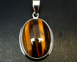 AUSSIE TIGER EYE SILVER PENDANT RT 1172