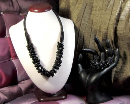 Bracelets Silver Chain SizeBLACK AGATE BRACELET AND NECKLACE MGMG 263