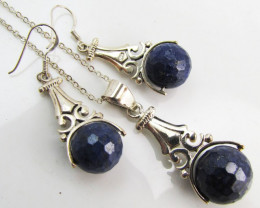 71 Cts lapis lazuli in silver Pendant n earrings MJA996