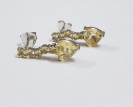 Citrine 925 Sterling silver earrings #7761