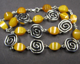 BALTIC YELLOW AMBER BEAD NECKLACE 49 CM LENGTH MYG 450