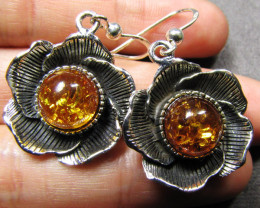 FLOWER DESIGN SILVER SHEPPARD HOOK AMBER EARRINGS MYG 507
