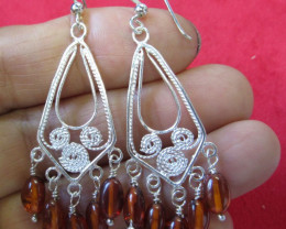 25Cts Amber Silver Earring Sheppard Hook AGR674