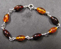 BALTIC BEAD AMBER SILVER BRACLET 24 TCW MYG 704