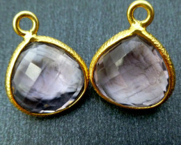 AMETHYST LARGE 15X15 MM EARRINGS RT 966
