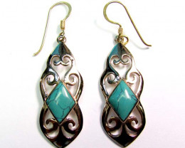 DYED HOWLITE BRONZE EARRINGS RT 337