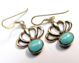 TURQUOISE COL  BRONZE EARRINGS RT 285