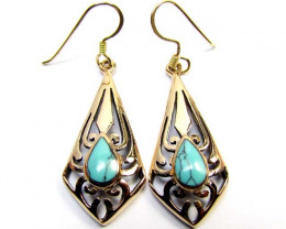 HOWLITE COL TURQUOISE  BRONZE EARRINGS RT 315