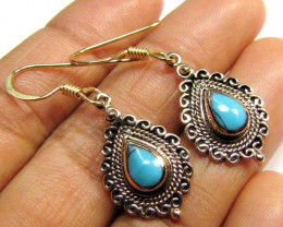 TURQUOISE COL  BRONZE EARRINGS RT 303