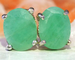 Cute Jade set in Silver Earrings WS544