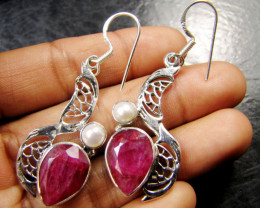 Bracelets Silver Chain SizePEARL N LARGE AFRICAN RUBY 925 SILVER EARRINGS R