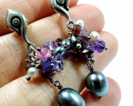 Cute Pearl with amethyst n ruby chips JGG 169