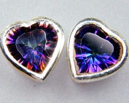 RAINBOW MYSTIC GEMSTONE SILVER EARRINGS GTJA726