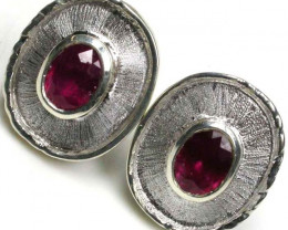 NATURAL RUBY SILVER EARRINGS 33.10 CARATS GTJA91