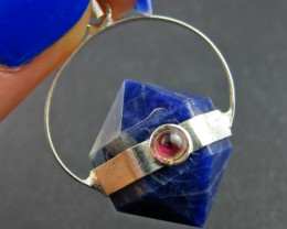 Terminated Point lapis n Garnet Pendant BU 656