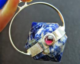 Terminated Point Lapis lazuli n Garnet Pendant BU 693