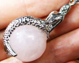 CUTE MERMAID ROSE QUARTZ PENDANT BU1111