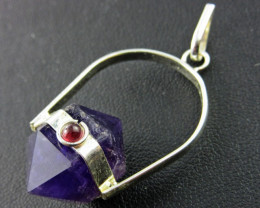 Terminated Point amethyst n Garnet Pendant BU 660a