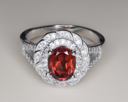 Natural Garnet and Silver Ring