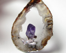 SLICED CRYSTAL AGATE WITH AMETHYST PENDANT GG 380