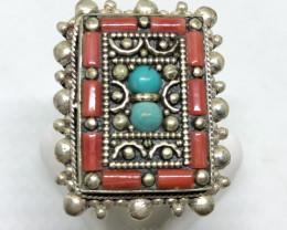 Vintage Tibetian Design Ring Coral & Torquise