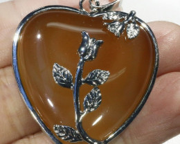 85cts Carnelian heart pendant PPP1213