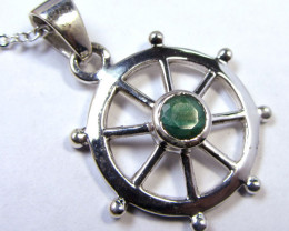 21 TCW MOZAMBIQUE LARGE EMERALD SILVER PENDANT GG799