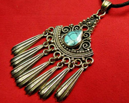 HOWLITE DYED TURQUOISE COLOR BRONZE PENDANT RT 261