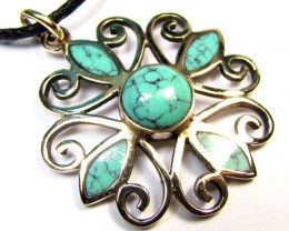 DYED HOWLITE TURQUOISE COLOR BRONZE PENDANT RT 335