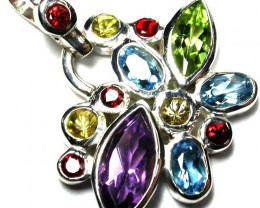 Silver Multi Stone  Gemstone Pendants