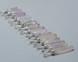 15 Pcs OF Natural Kunzite Pendents With Silver