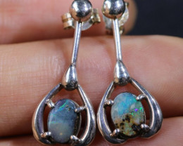 Natural solid Boulder opal earrings set in silver BU 1154